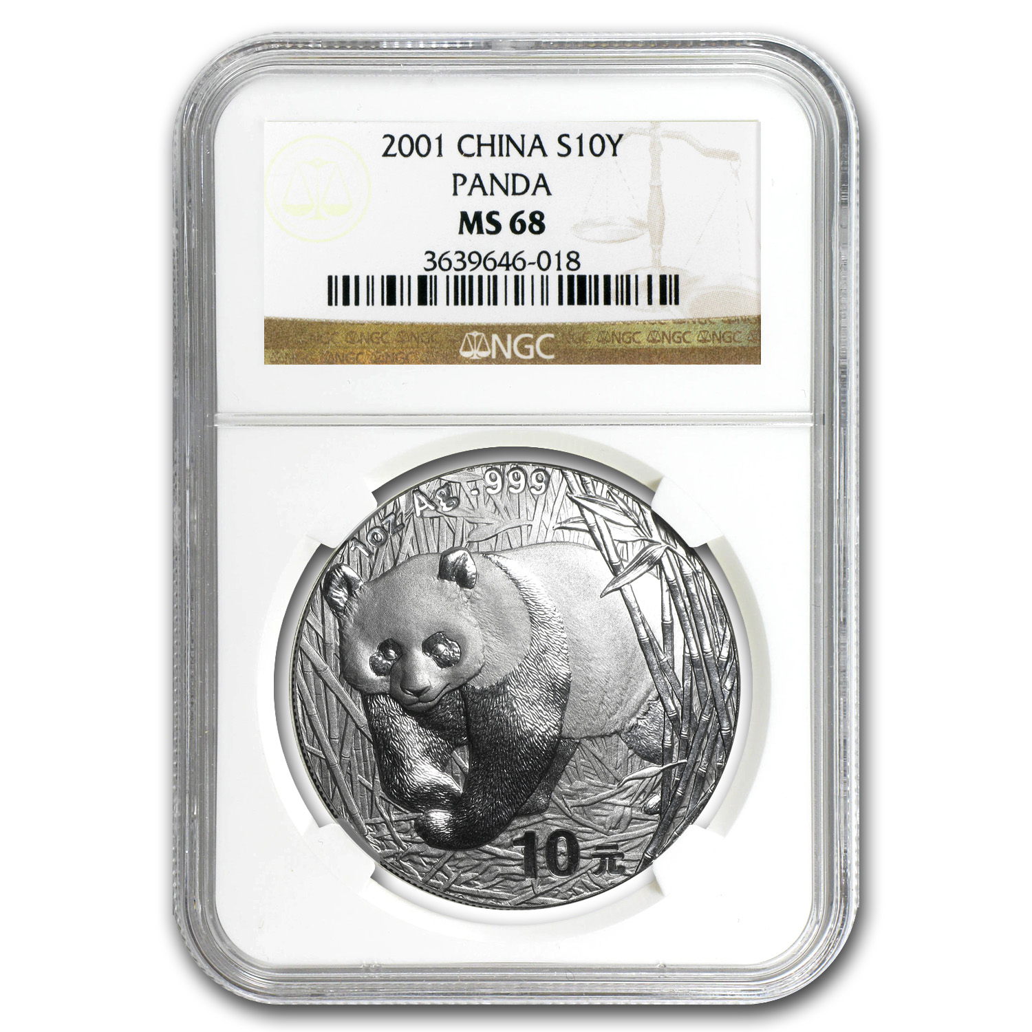 2001 China 1 oz Silver Panda MS-68 NGC
