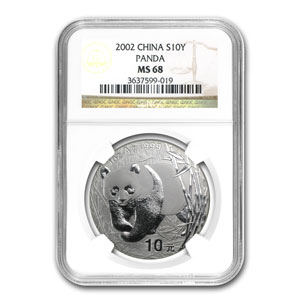 2002 China 1 oz Silver Panda MS-68 NGC