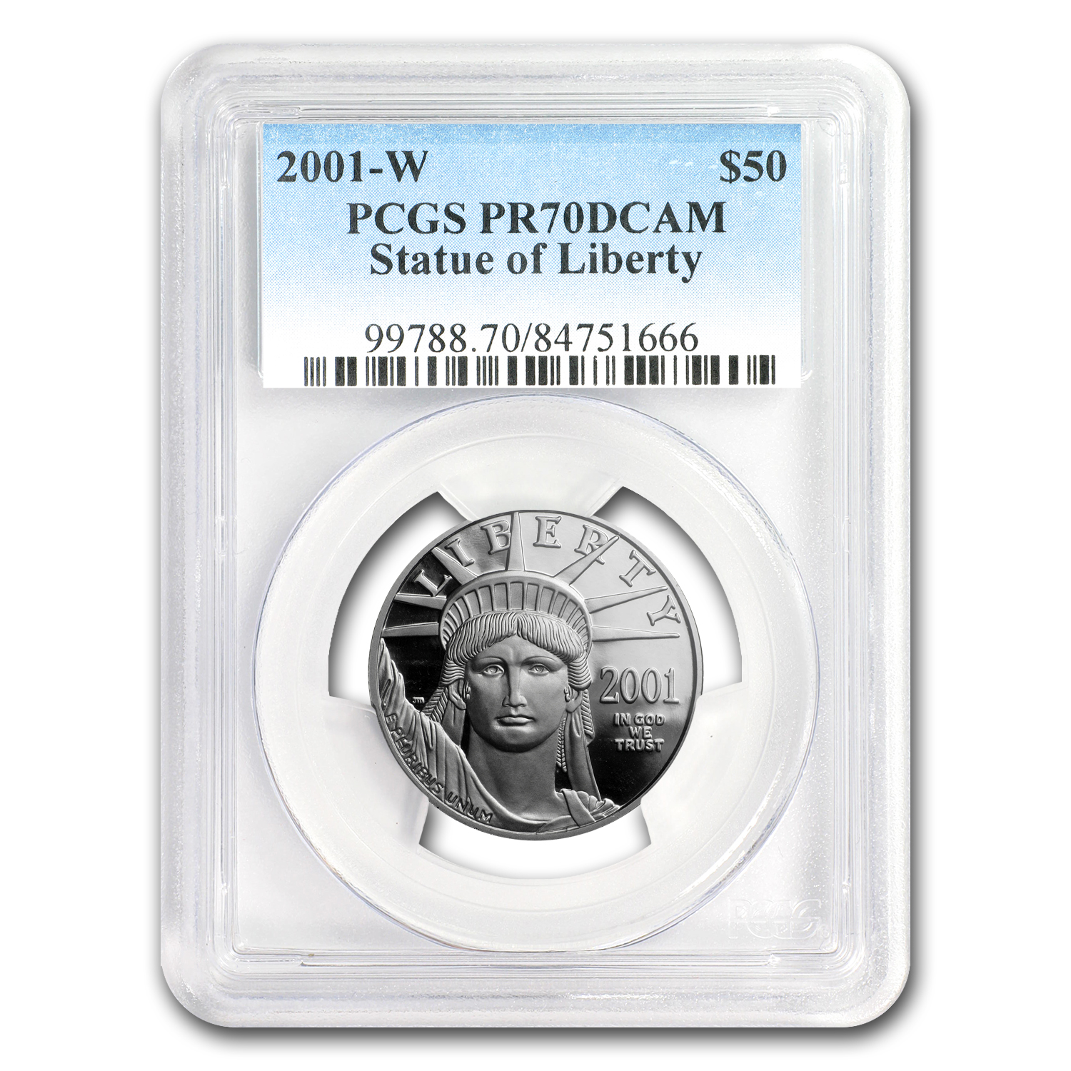 2001-W 1/2 oz Proof Platinum American Eagle PR-70 PCGS DCAM