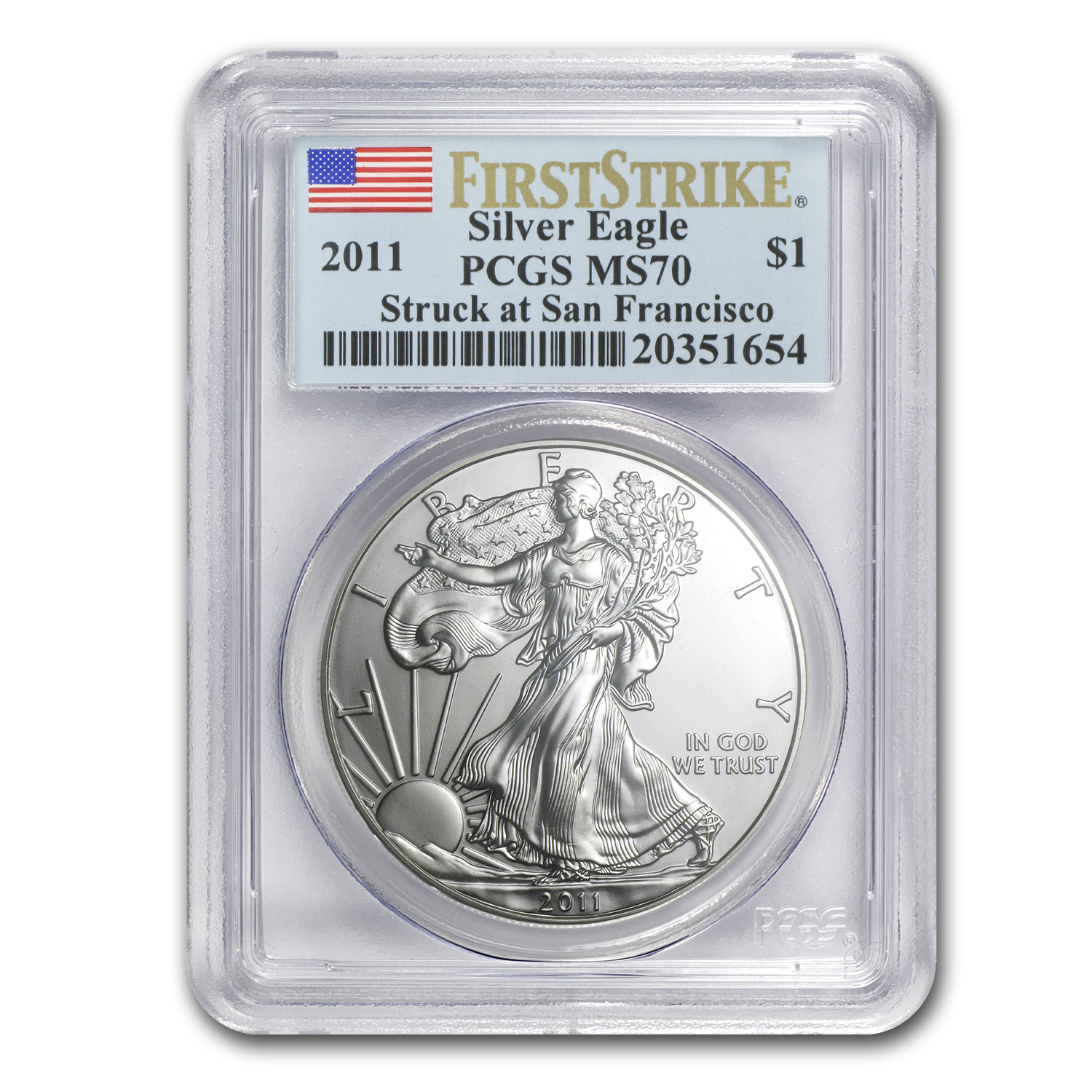 2011 (S) Silver American Eagle MS-70 PCGS (First Strike)