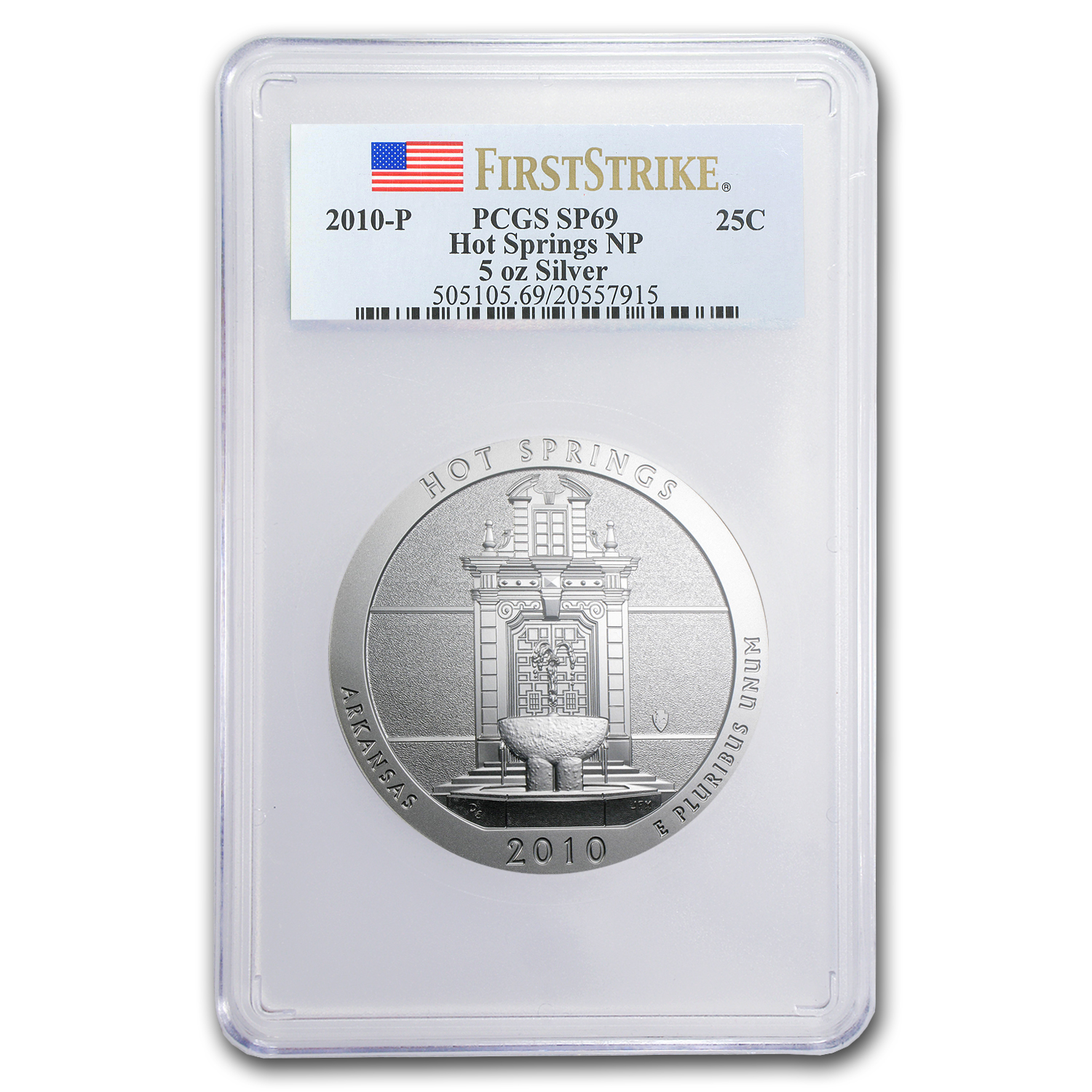 2010-P 5 oz Silver ATB Hot Springs SP-69 PCGS (First Strike)