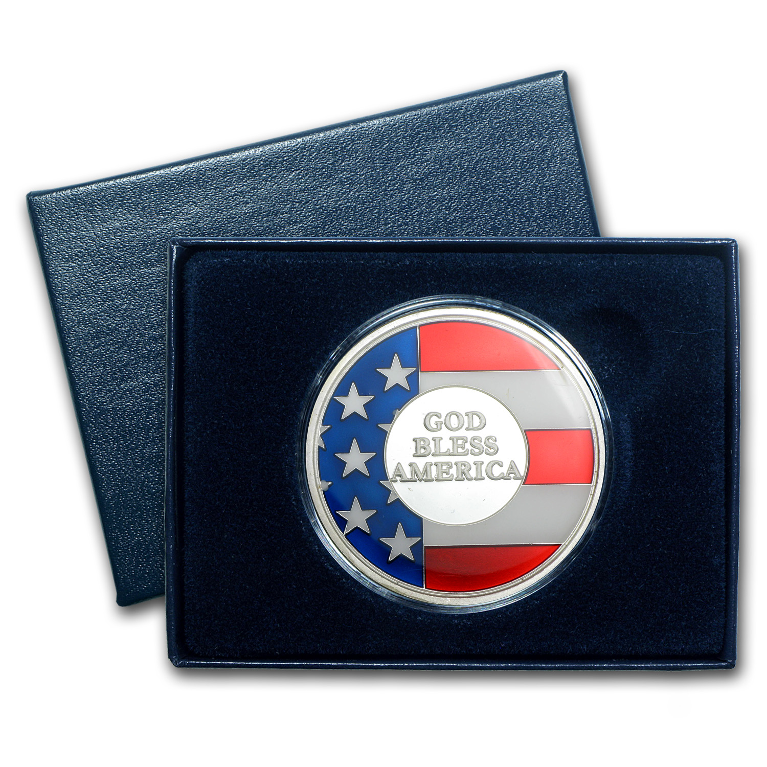 1 oz Silver Round - God Bless America (Enameled, w/Box & Capsule)