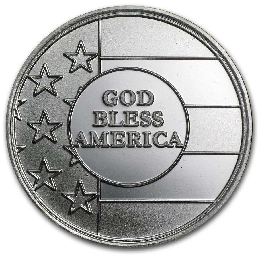 1 Oz Silver Round God Bless America 1 Oz Silver