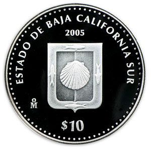 2005 Mexico 1 oz Silver 10 Pesos State of Baja Cal. Sur Proof