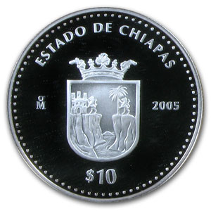 2005 Mexico 10 Peso 1 oz Proof Silver State of Chiapas