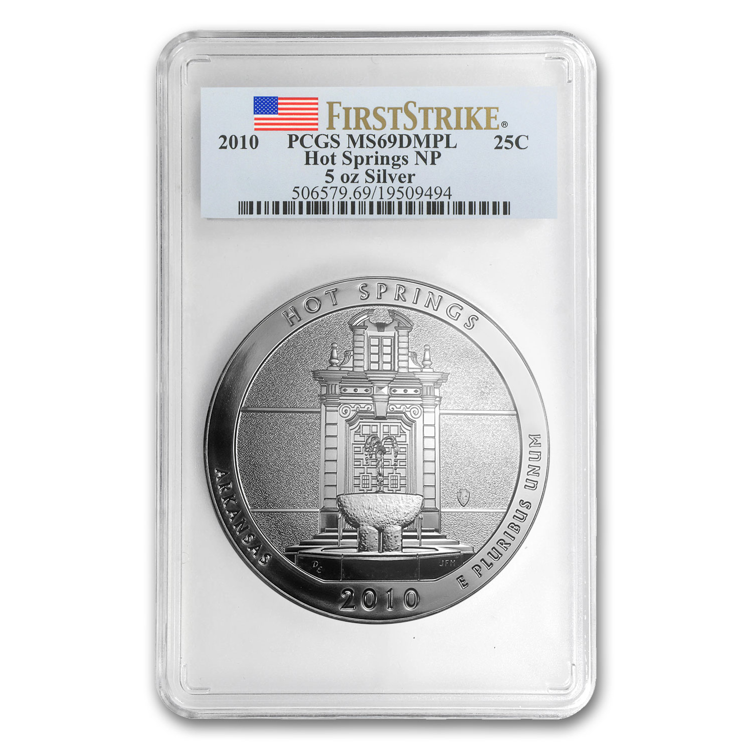 2010 5 oz Silver ATB Hot Springs PCGS MS-69 DMPL First Strike