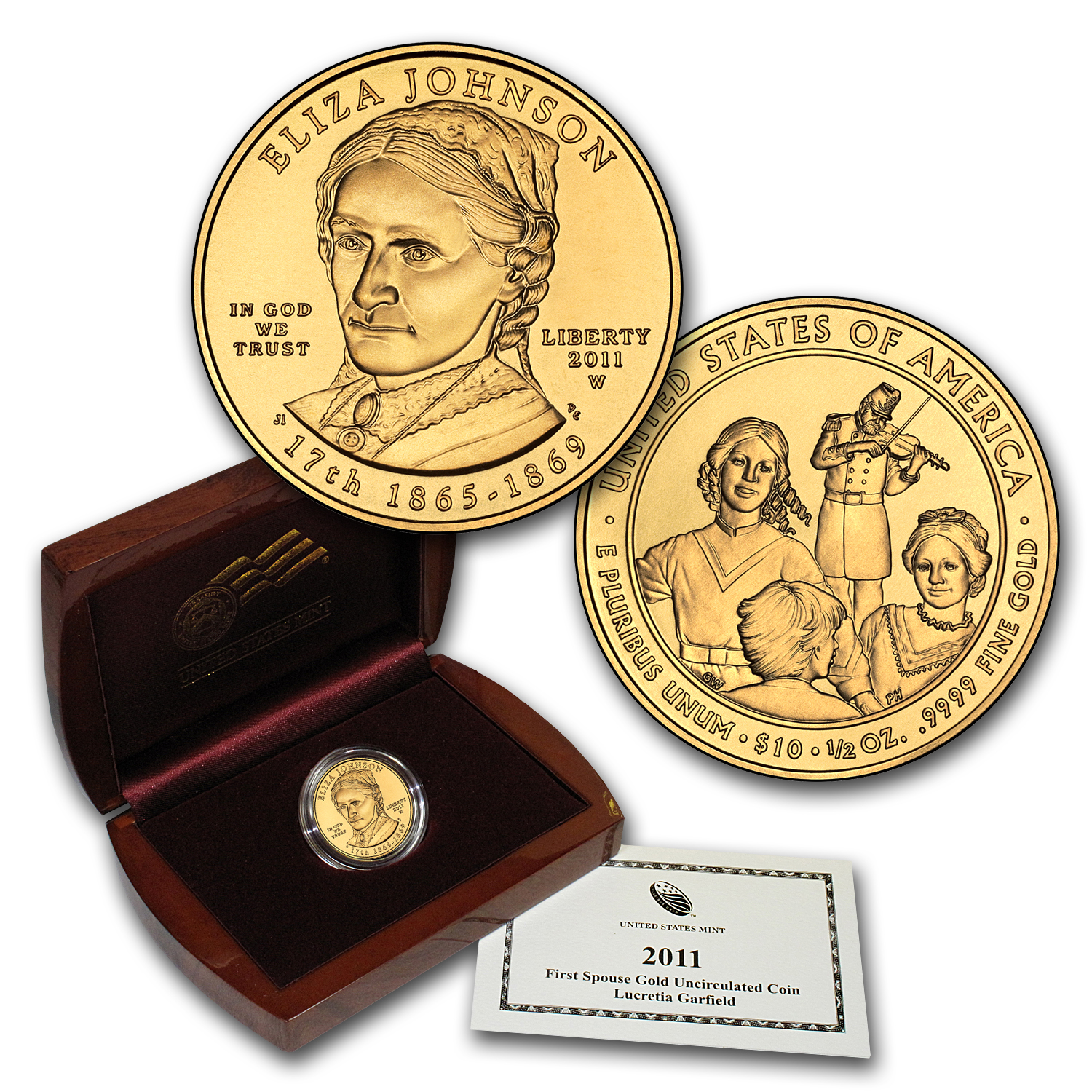 2011-W 1/2 oz Gold Eliza Johnson BU (w/Box & COA)
