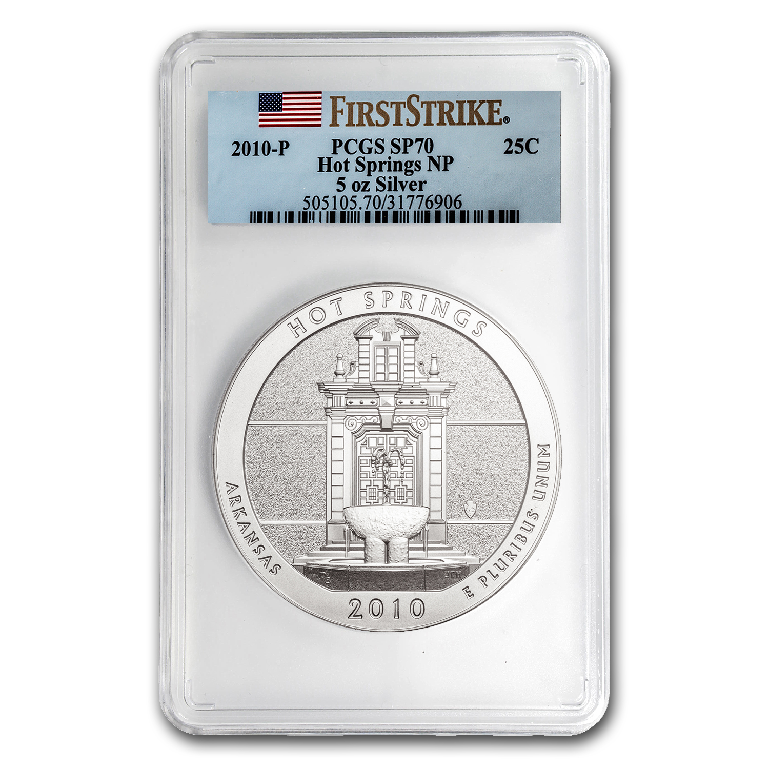 2010-P 5 oz Silver ATB Hot Springs SP-70 PCGS (First Strike)