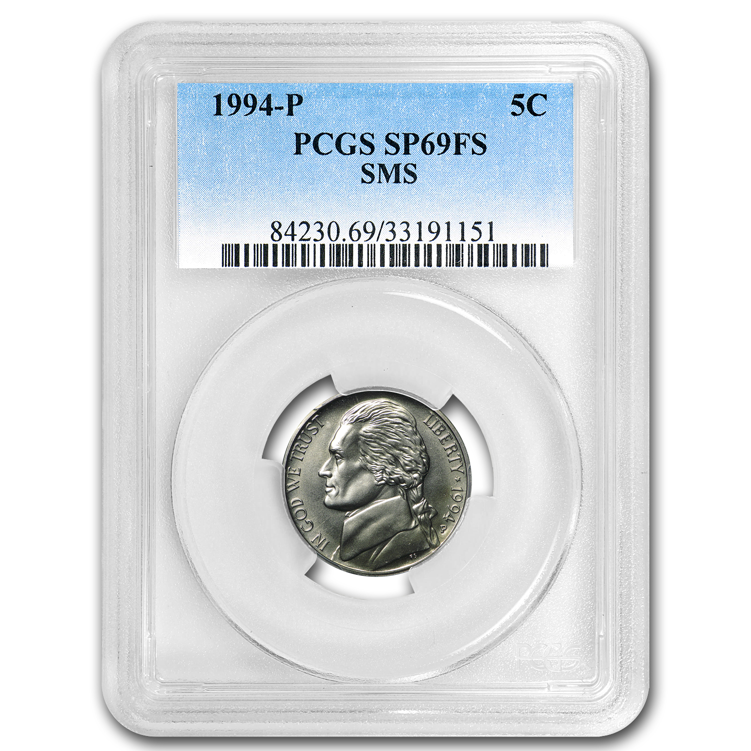 1994-P Jefferson Nickel Matte Finish SP-69 PCGS (Full Steps)