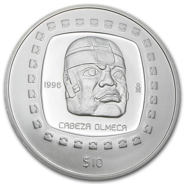 1996 Mexico 5 Oz Silver 10 Pesos Cabeza Olmeca Bu Gold