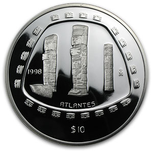 1998 Mexico 5 oz Silver 10 Pesos Atlantes Proof