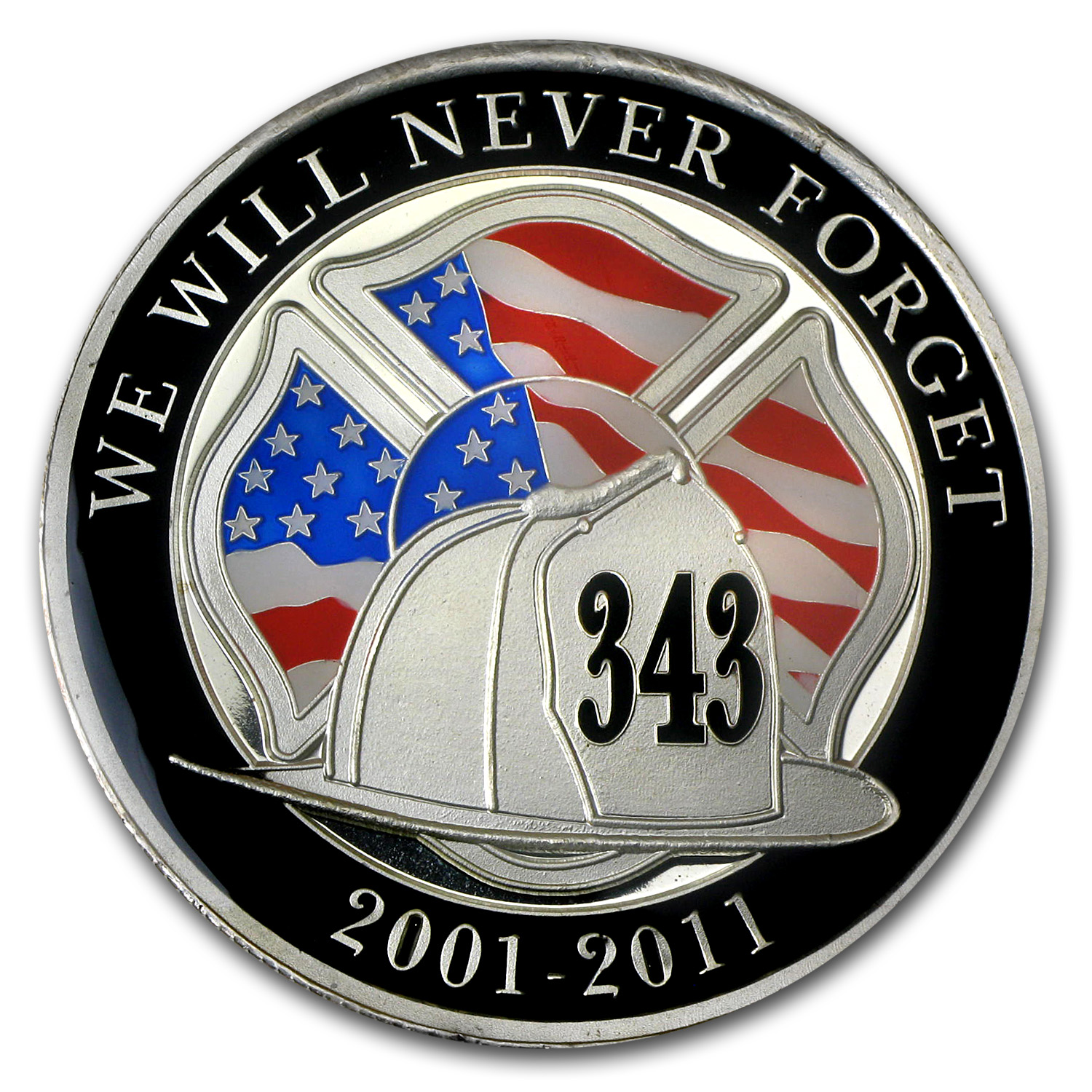1 oz We Will Never Forget Enameled Silver Round (w/Box & Capsule)