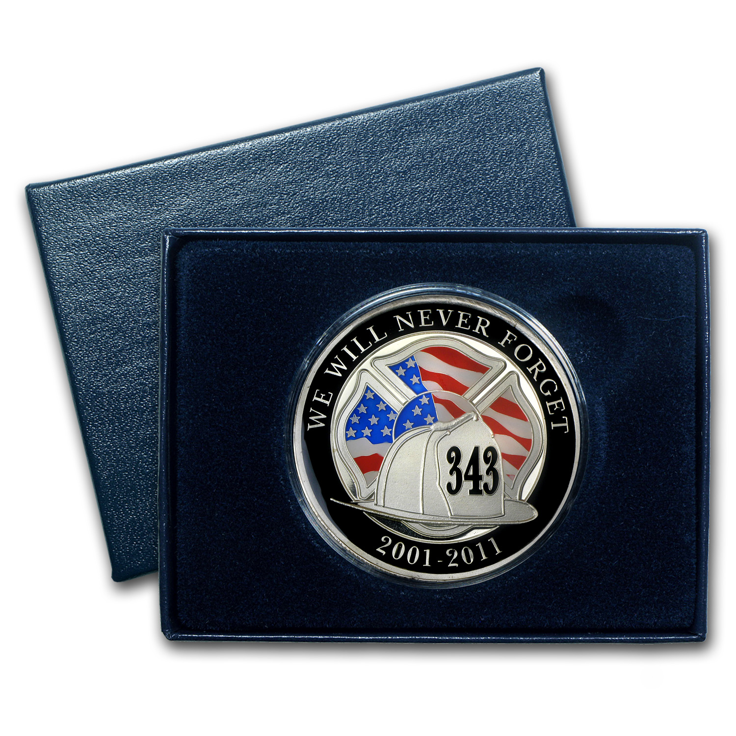 1 oz Silver Round - We Will Never Forget (Enameled, w/Box & Cap)