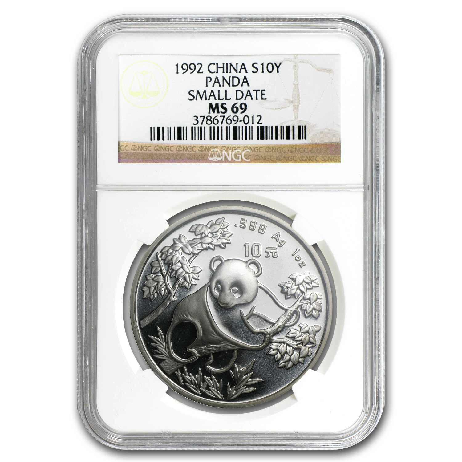 1992 China 1 oz Silver Panda MS-69 NGC (Small Date)