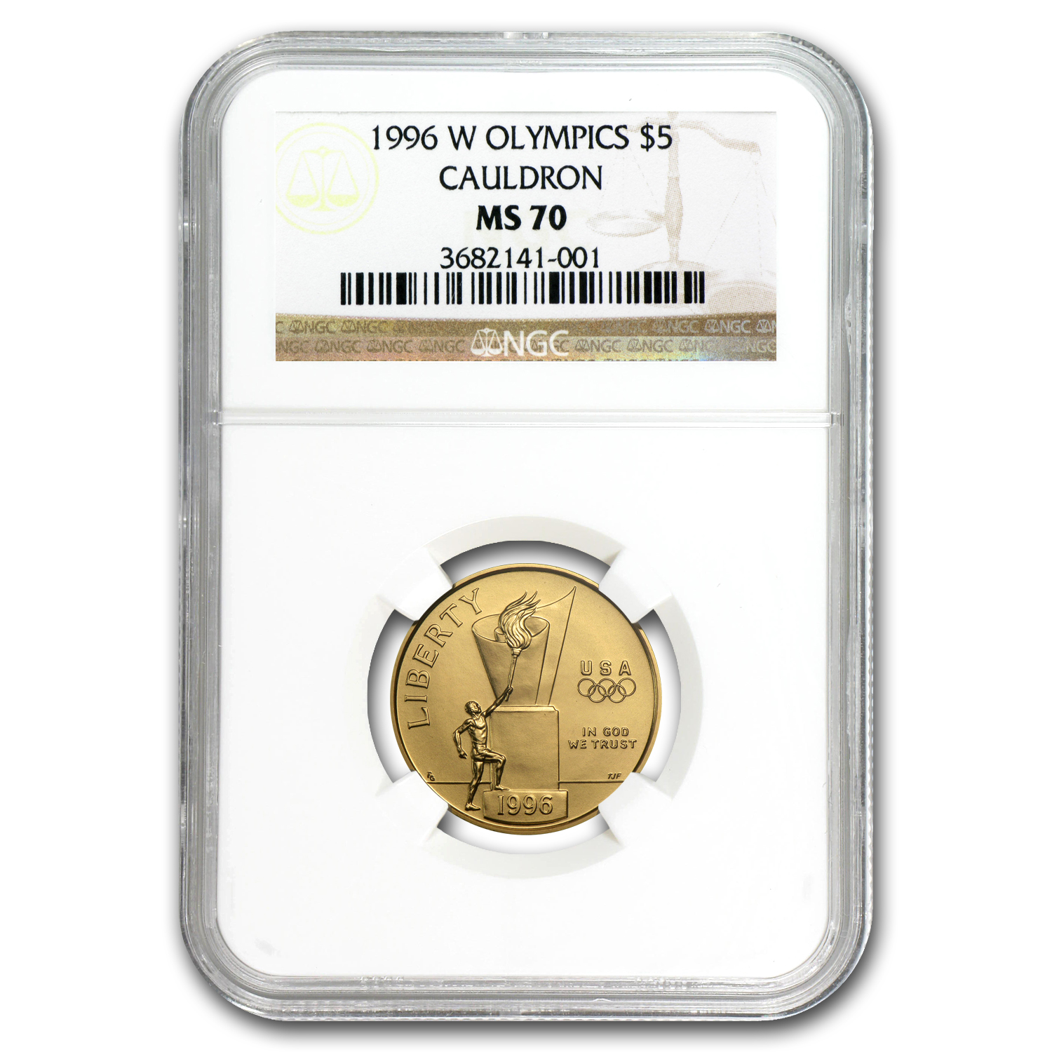 1996-W Gold $5 Commem Cauldron MS-70 NGC