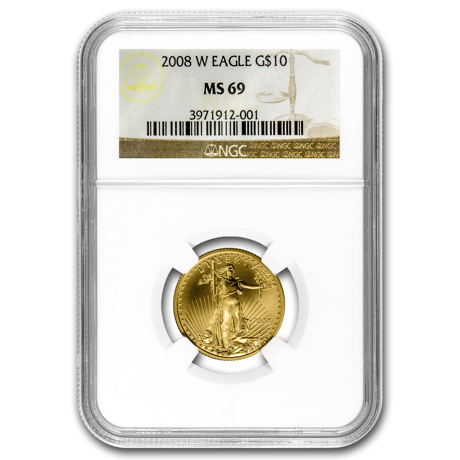 2008-W 1/4 oz Burnished Gold American Eagle MS-69 NGC