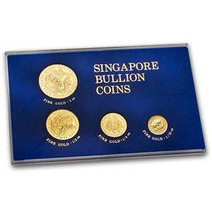 1983 Singapore 4-Coin Dragon Gold Set BU