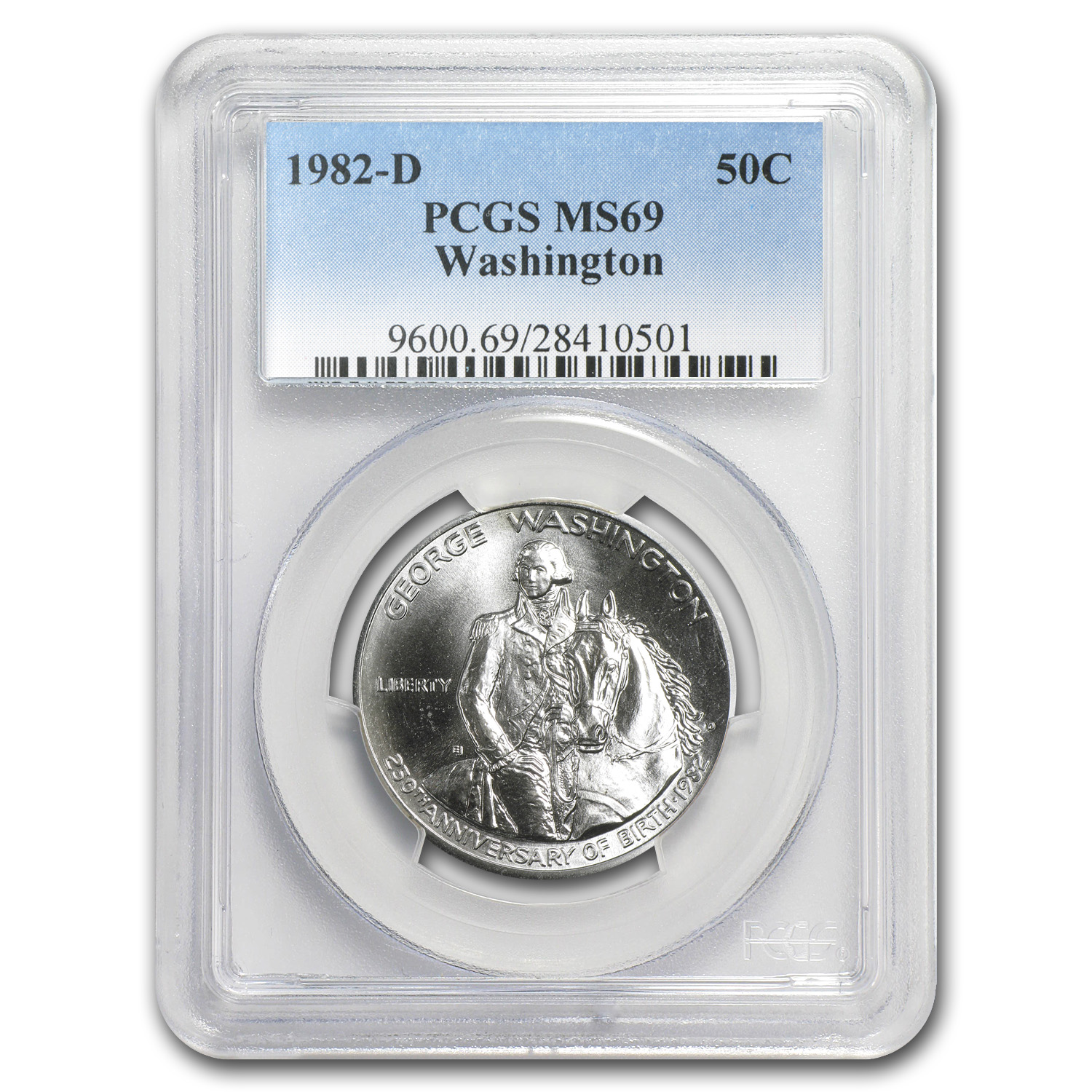 1982-D George Washington 1/2 Dollar Silver Commem MS-69 PCGS