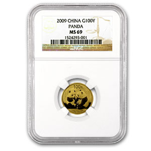 2009 China 1/4 oz Gold Panda MS-69 NGC
