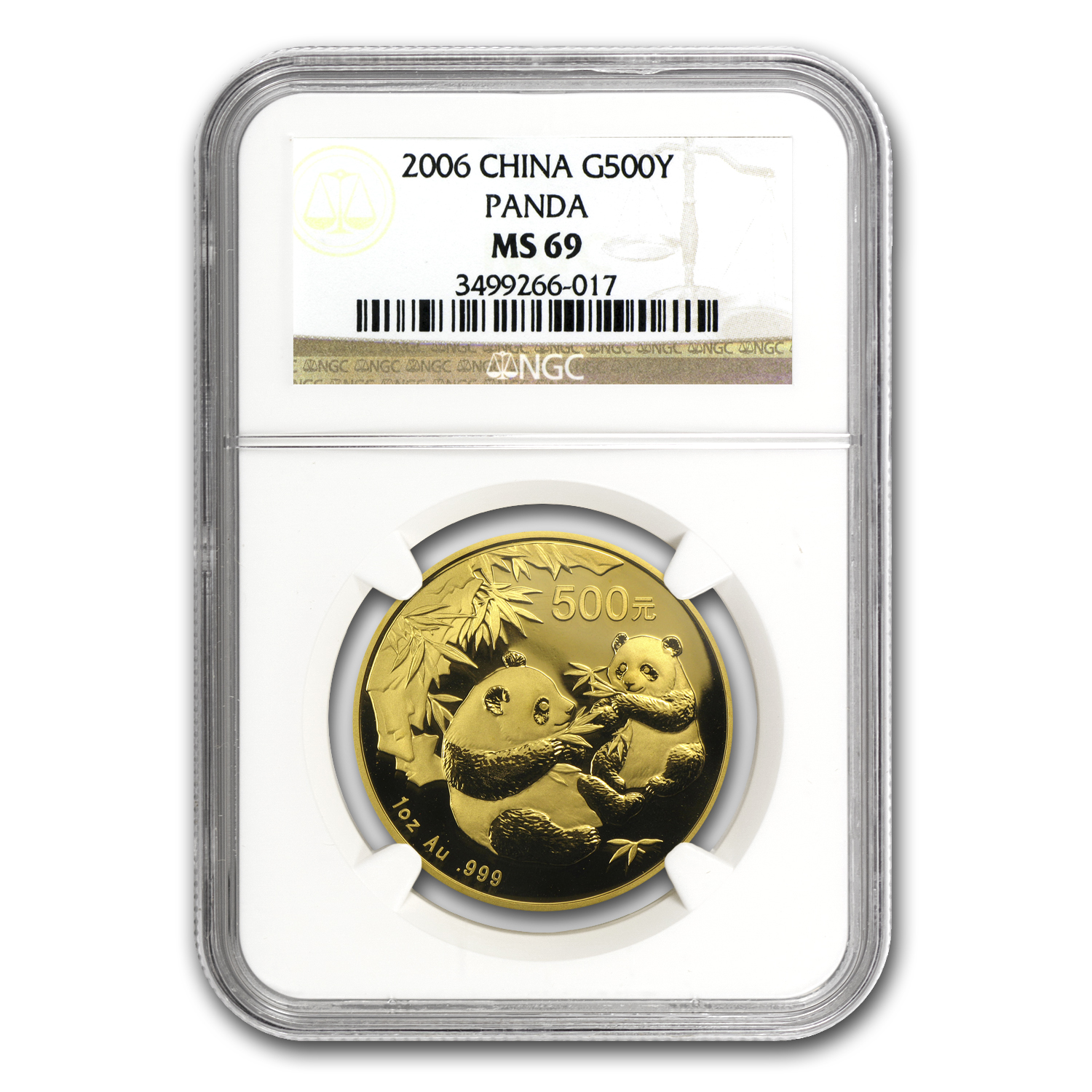 2006 China 1 oz Gold Panda MS-69 NGC