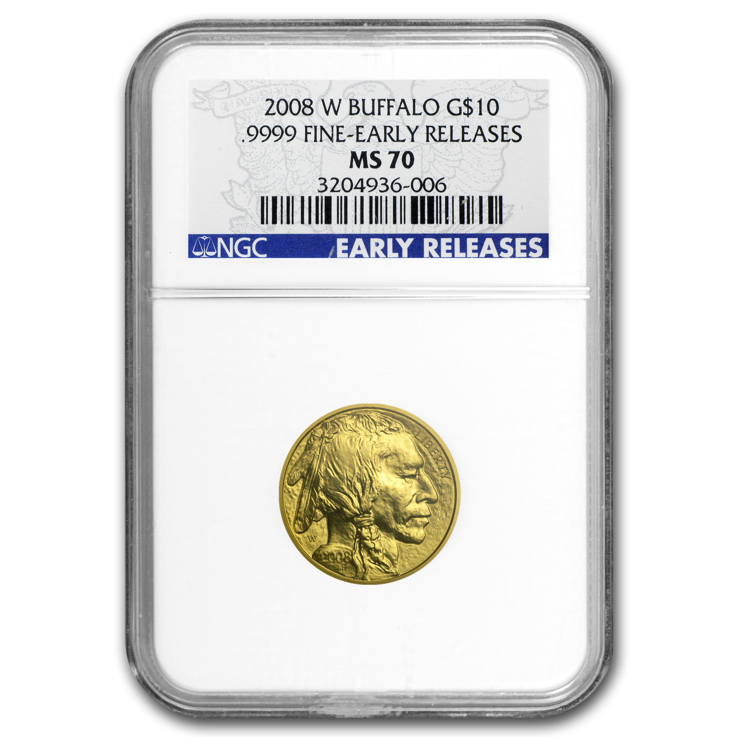 2008-W 1/4 oz Gold Buffalo MS-70 NGC (ER, Registry Set)