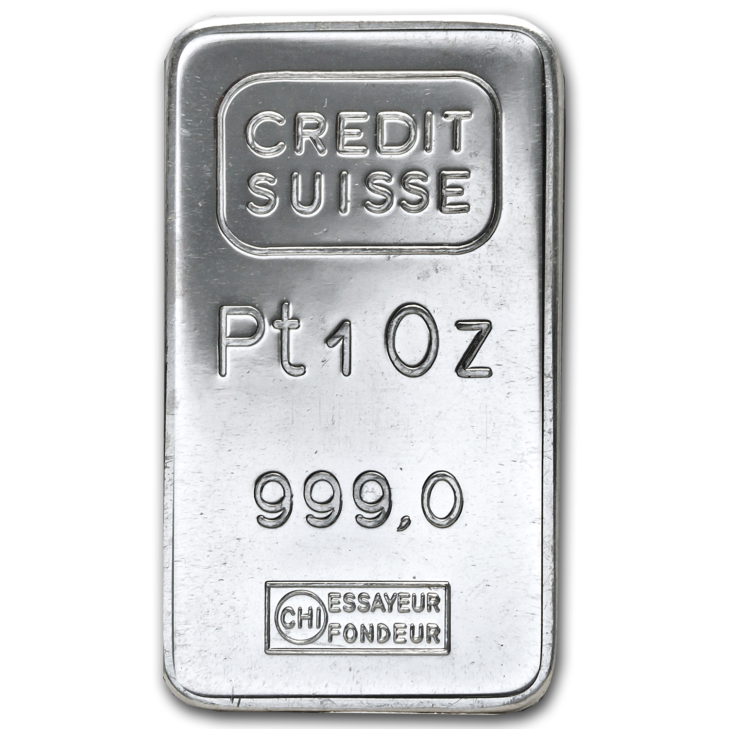 1 oz Platinum Bar - Credit Suisse (.999 Fine, Vintage)