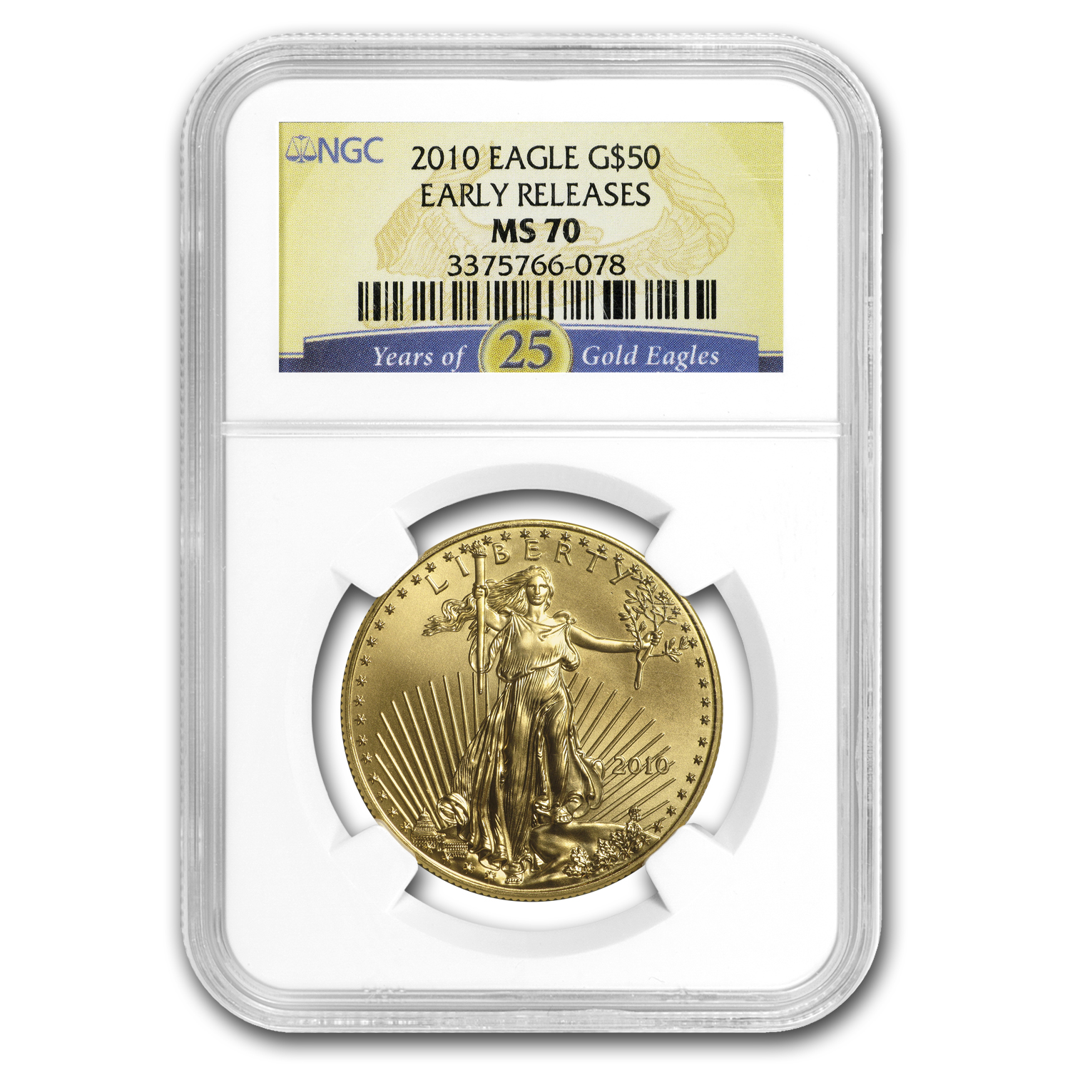 2010 1 oz Gold American Eagle MS-70 NGC 25 Years (Early Releases)