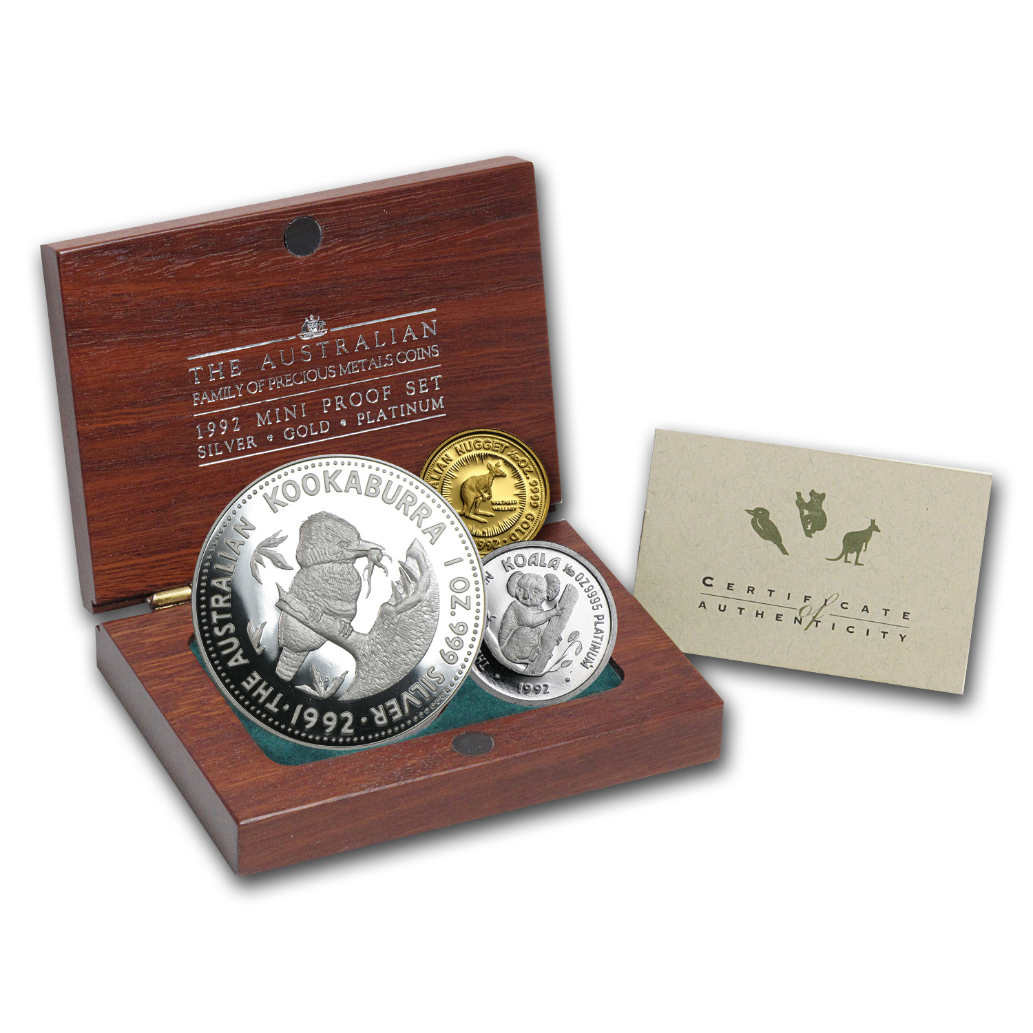 1992 Australia 3-Coin Family of Precious Metals Proof Set