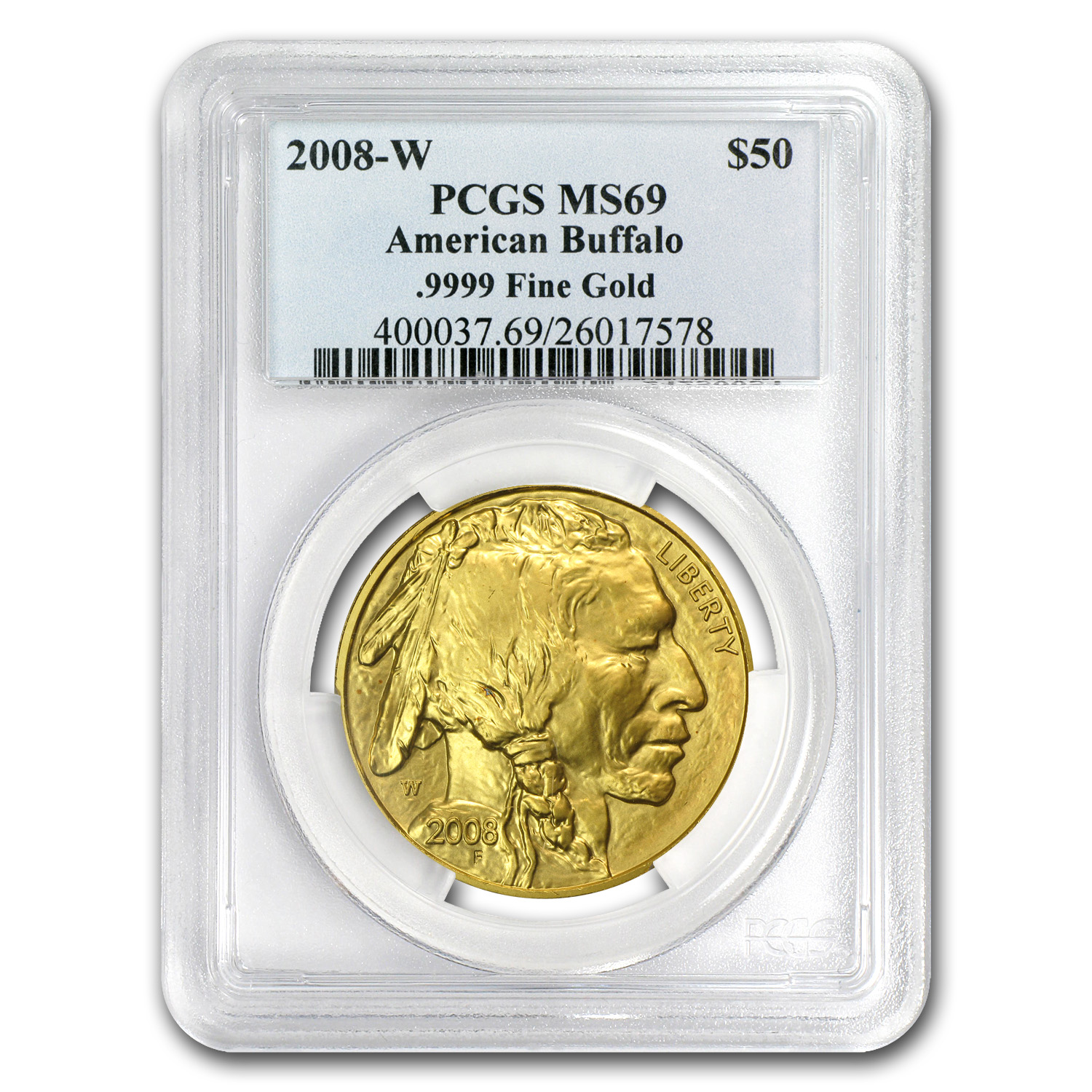 2008-W 1 oz Gold Buffalo SP/MS-69 PCGS