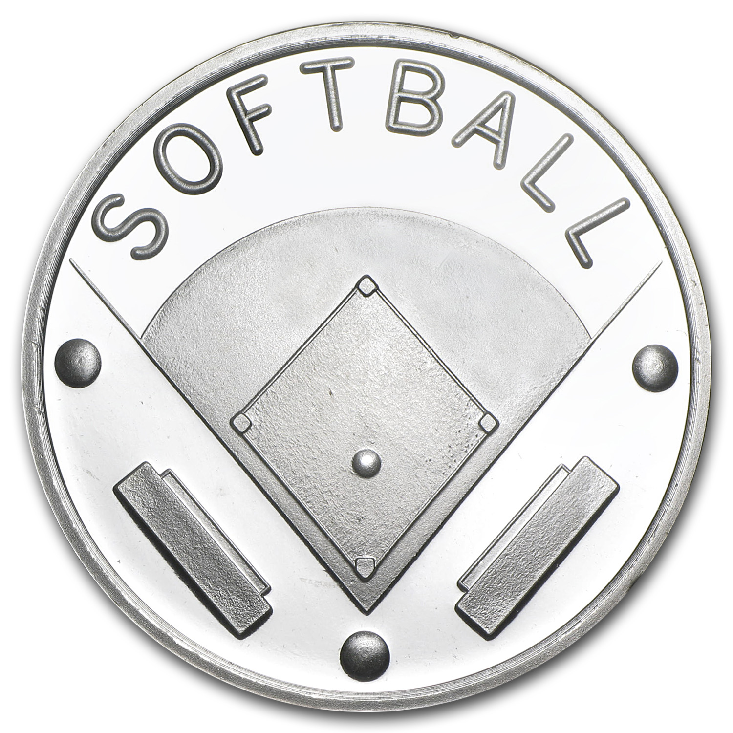 1 oz Silver Round - Softball (w/Gift Box & Capsule)