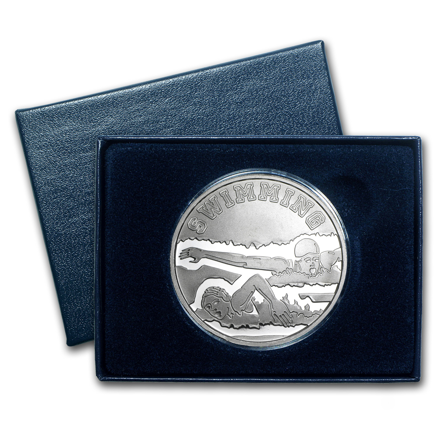 1 oz Silver Round - Swimming (w/Gift Box & Capsule)