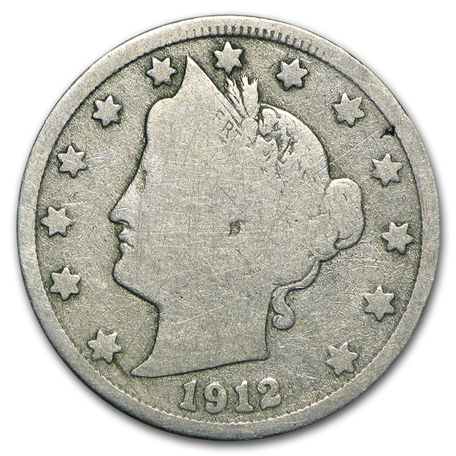 1912-S Liberty Head V Nickel Good