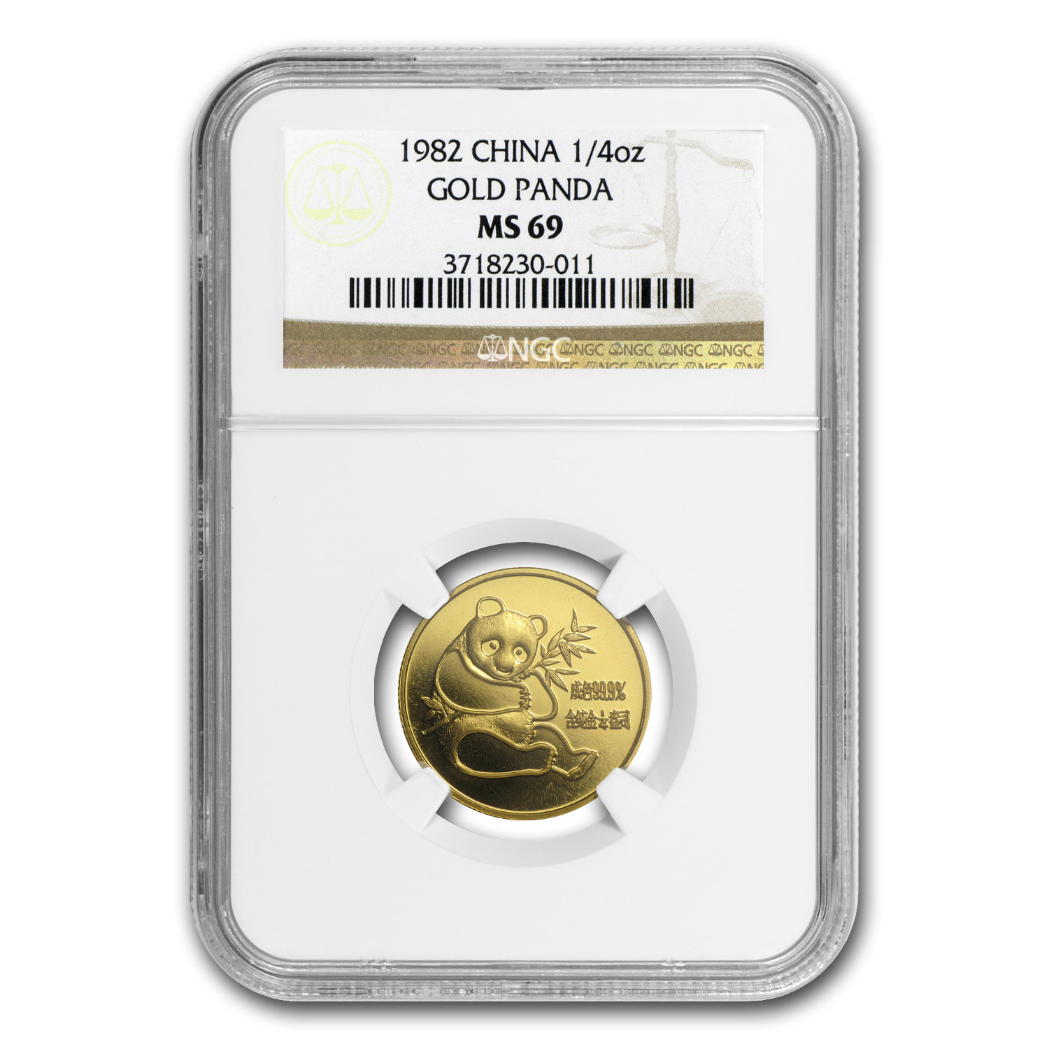 1982 China 1/4 oz Gold Panda MS-69 NGC