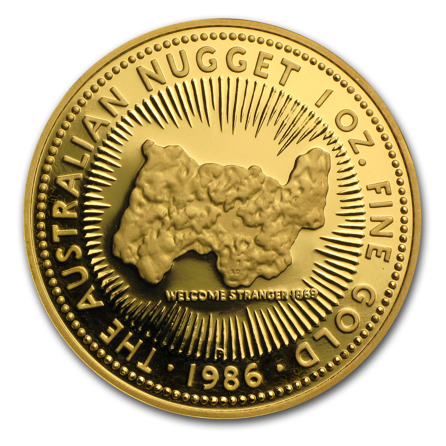 1986 1 oz Australian Proof Gold Nugget