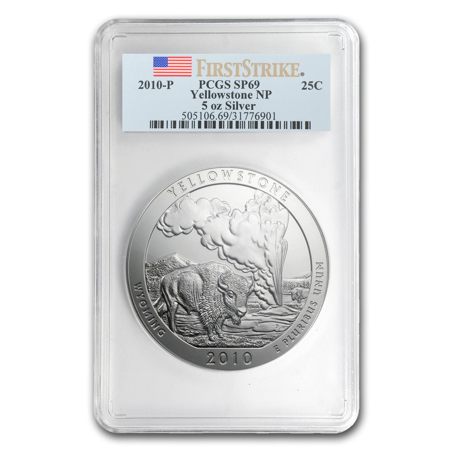 2010-P 5 oz Silver ATB Yellowstone SP-69 PCGS (First Strike)