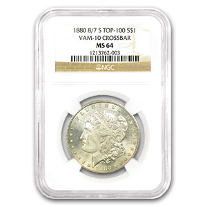1880-S Morgan Dollar MS-64 NGC (VAM-10, 8 over 7, Top-100)