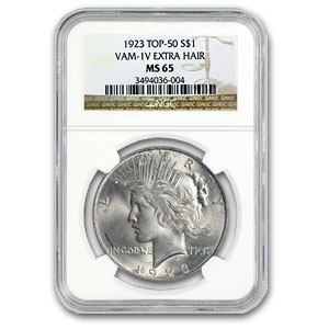 1923 Peace Dollar MS-65 NGC (VAM-1V, Extra Hair)