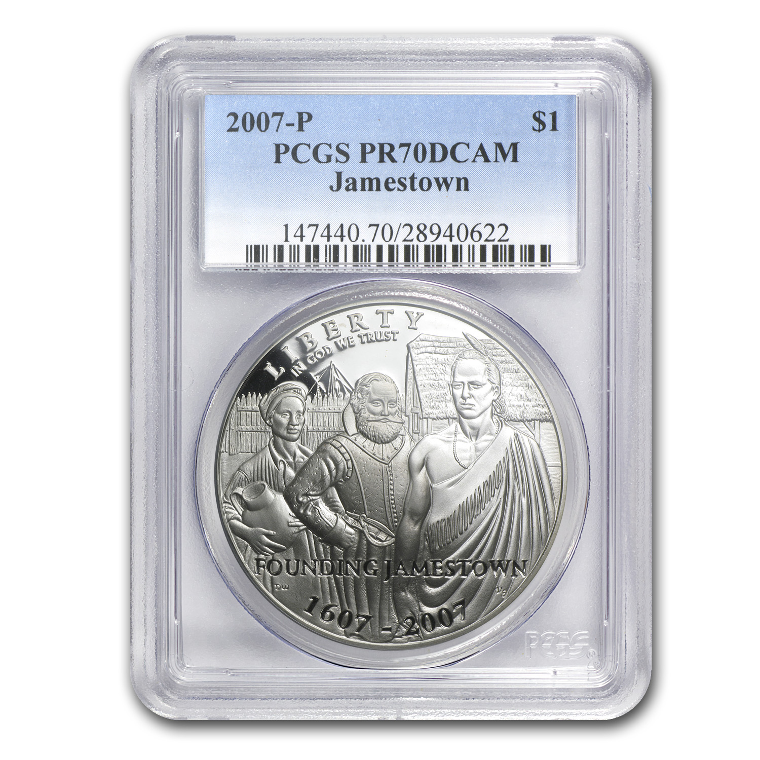 2007-P Jamestown 400th Anniv $1 Silver Commem PR-70 PCGS