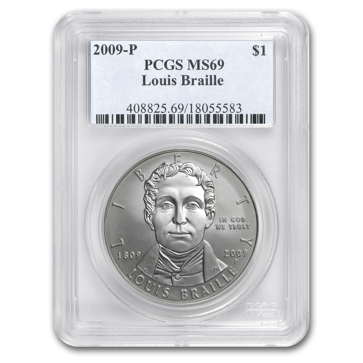 2009-P Louis Braille $1 Silver Commem MS-69 PCGS