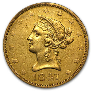 1847-O $10 Liberty Gold Eagle - Very Fine Details - Cleaned