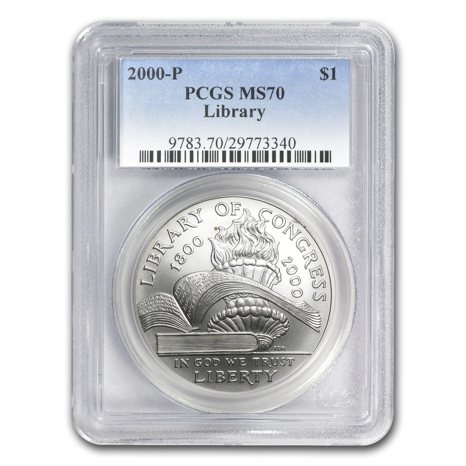 2000-P Library of Congress $1 Silver Commemorative MS-70 PCGS