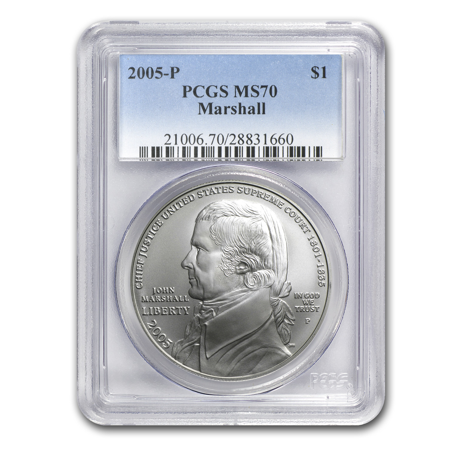 2005-P Chief Justice Marshall $1 Silver Commem MS-70 PCGS