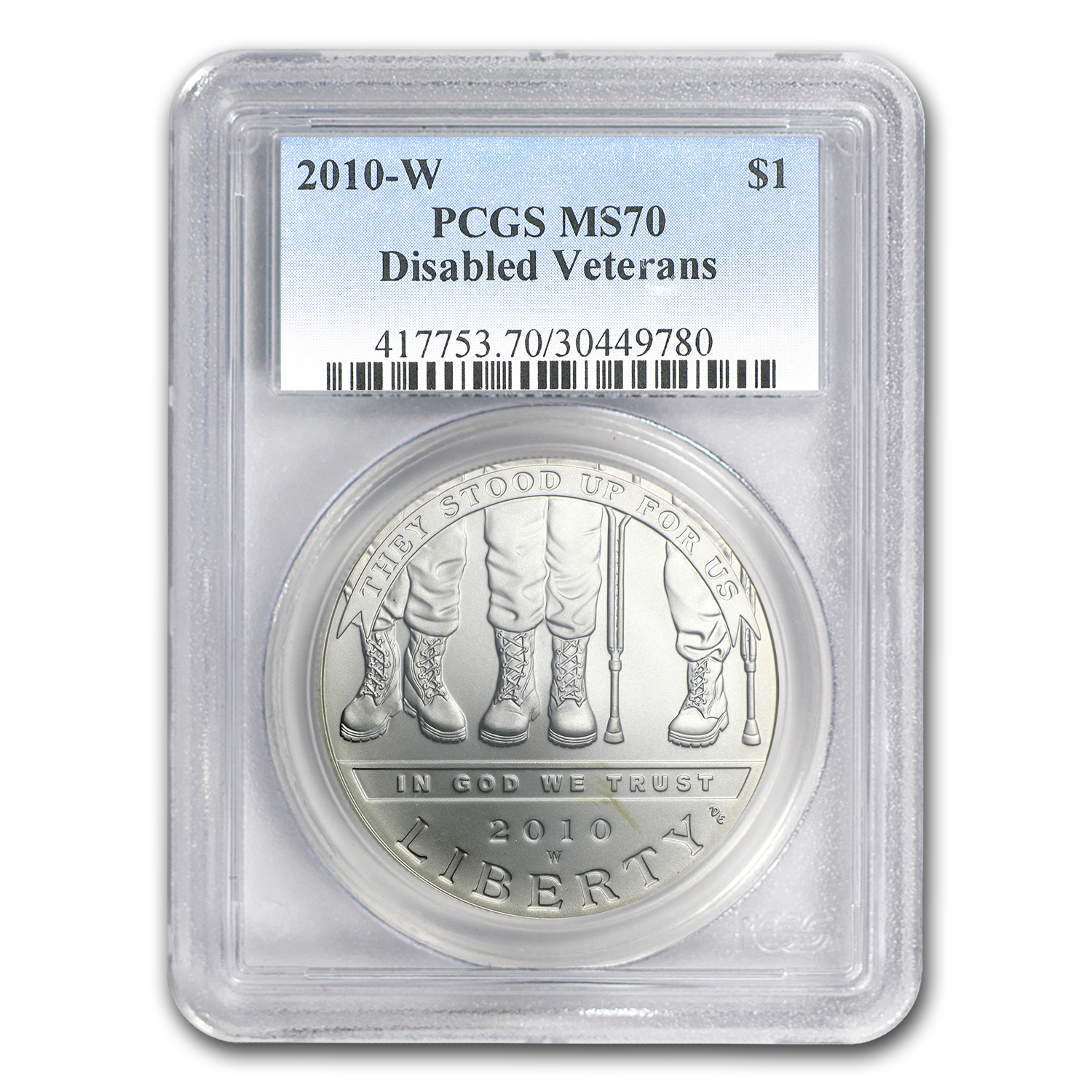 2010-W Disabled American Veterans $1 Silver Commem MS-70 PCGS