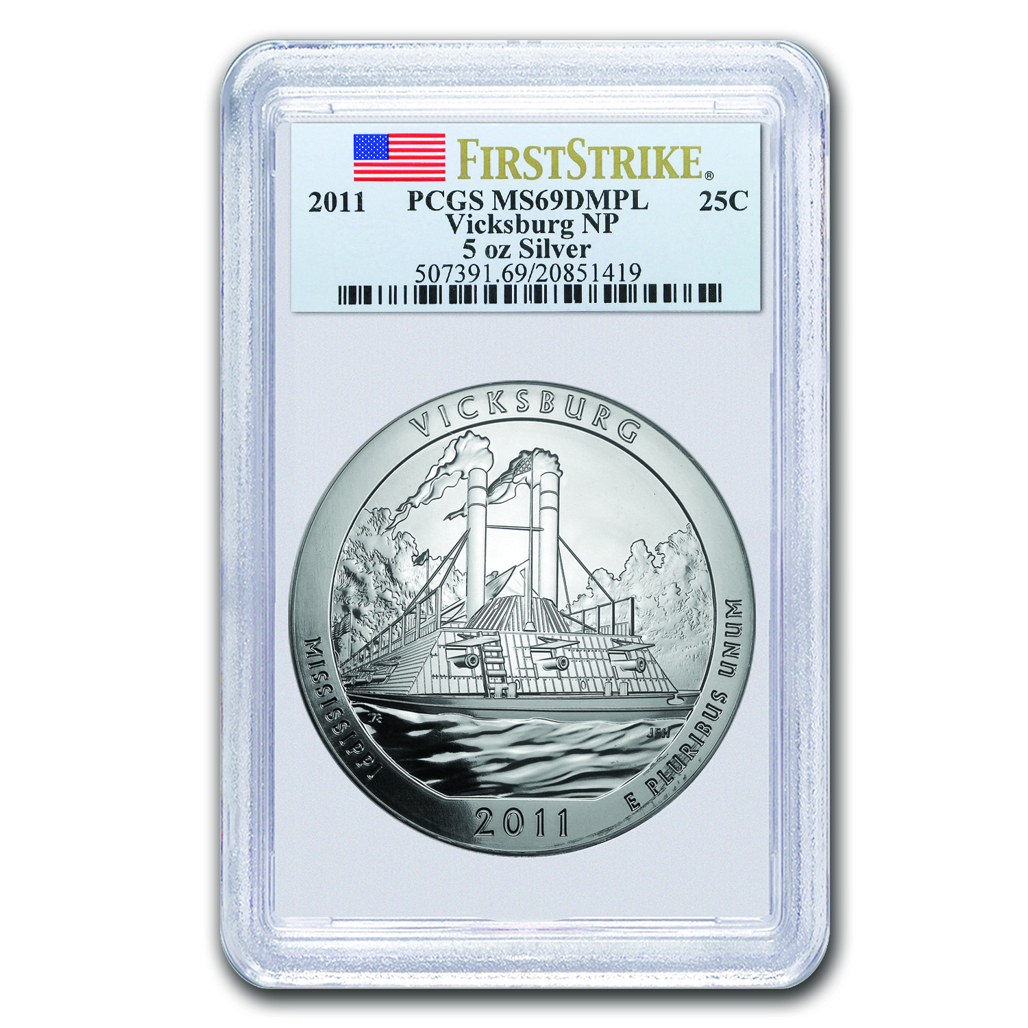 2011 5 oz Silver ATB Vicksburg MS-69 DMPL PCGS (First Strike)