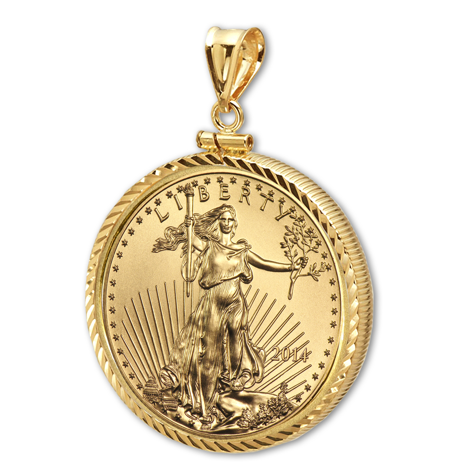 2014 1 oz Gold Eagle Pendant (Diamond-ScrewTop Bezel)