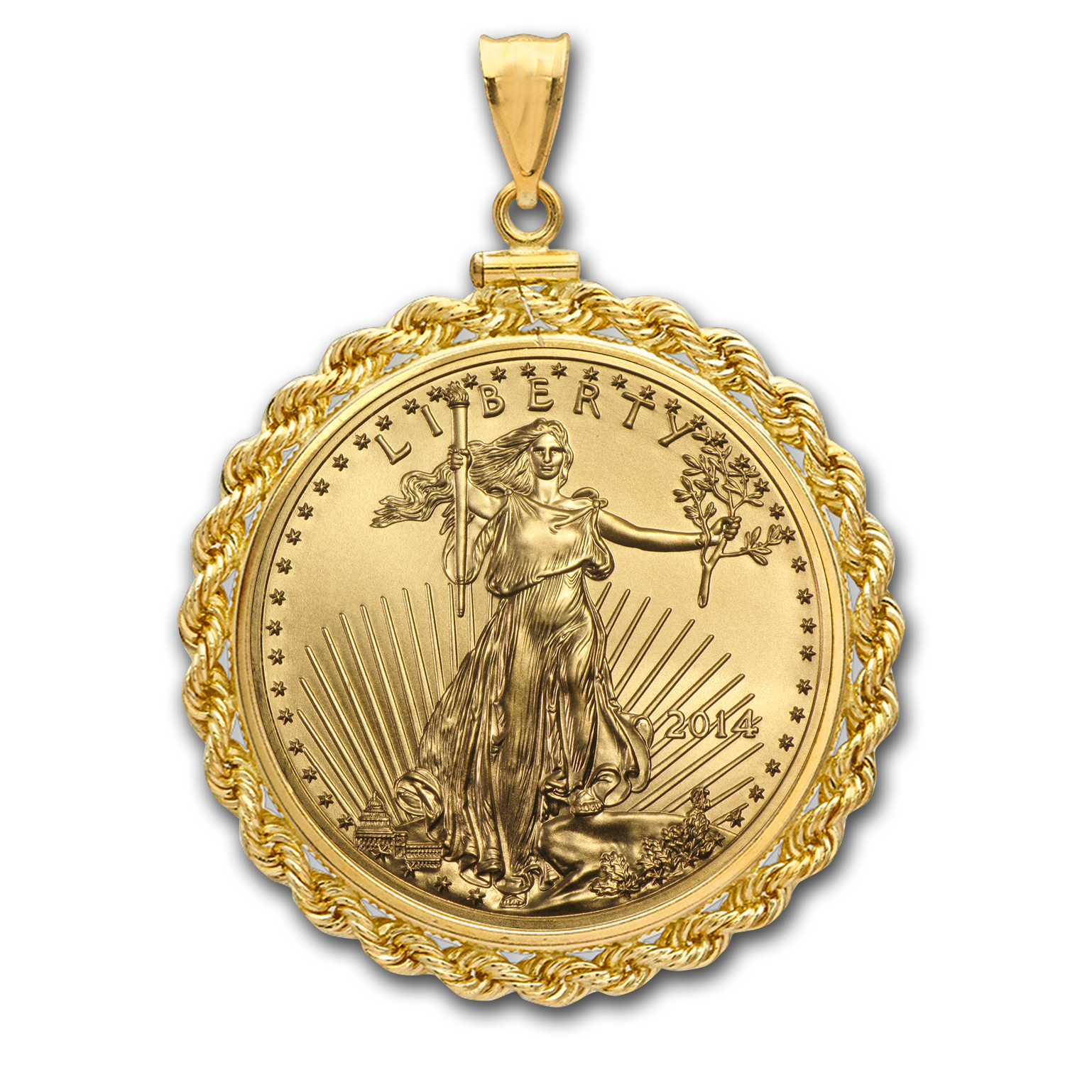 2014 1 oz Gold Eagle Pendant (Rope-ScrewTop Bezel)