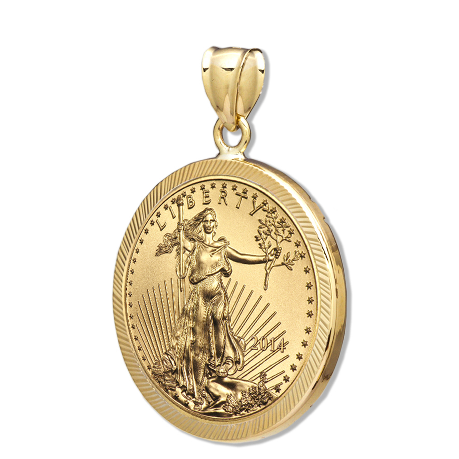 2014 1 oz Gold Eagle Pendant (Diamond-Prong Bezel)