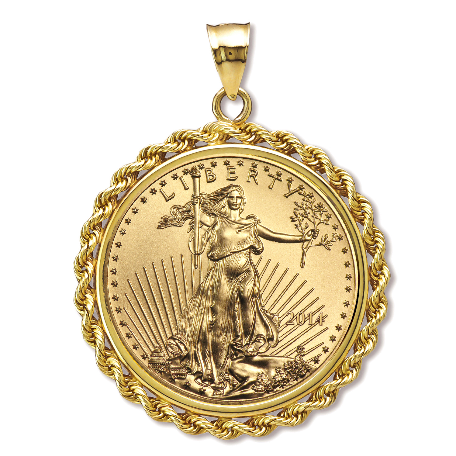 2014 1 oz Gold Eagle Pendant (Rope-Prong Bezel)