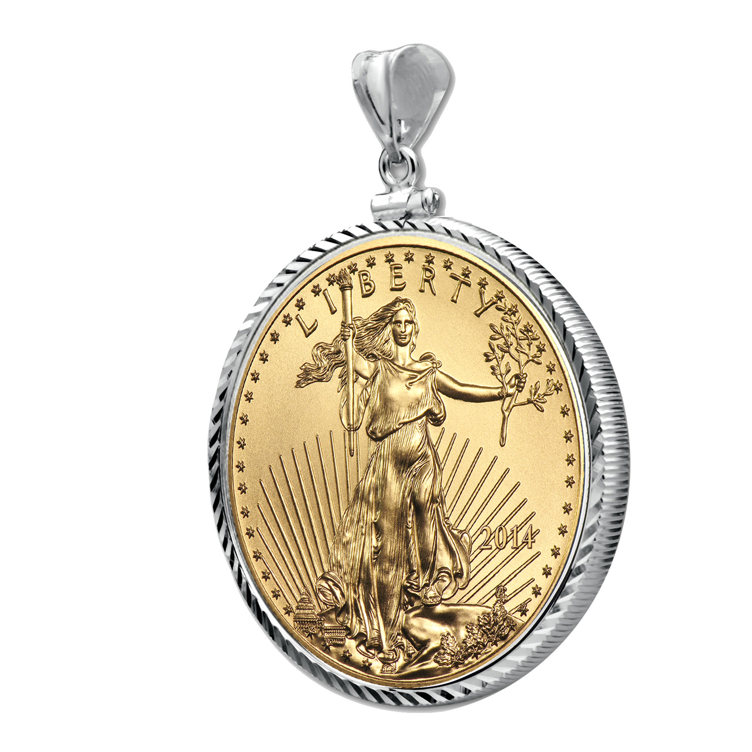 2014 1 oz Gold Eagle White Gold Pendant (Diamond-ScrewTop Bezel)