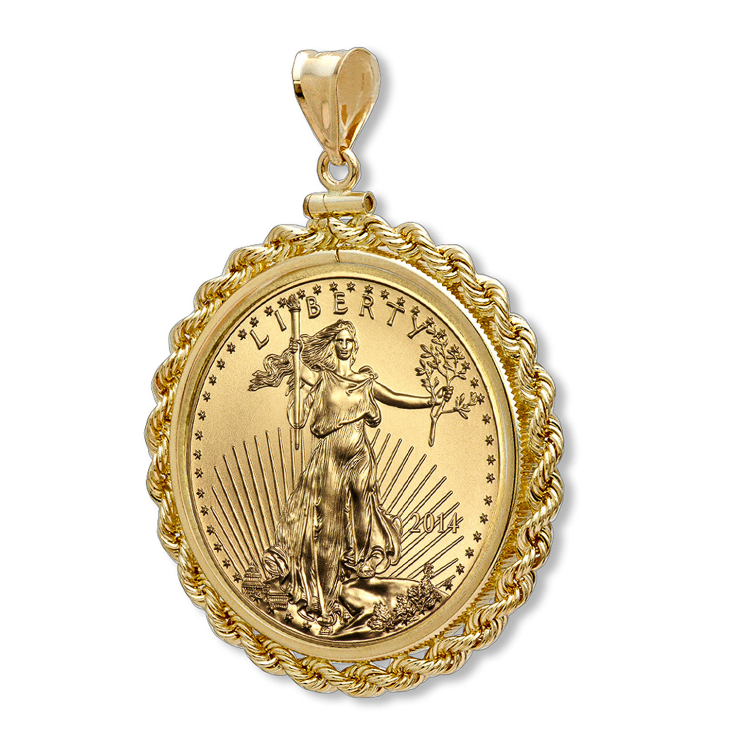 2014 1/2 oz Gold Eagle Pendant (Rope-ScrewTop Bezel)
